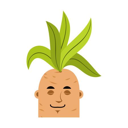 Mandrake root sleeping emoji. Asleep Legendary mystical plant in form of man. Stock Vector - 94286147