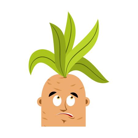 Mandrake root confused oops emoji. Surprise Legendary mystical plant in form of man.