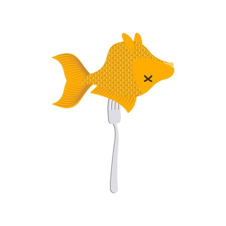 Fried goldfish fork. Sea food isolated Vector illustration