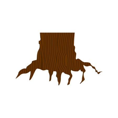 Stump isolated. dead tree on white background. Vector illustration
