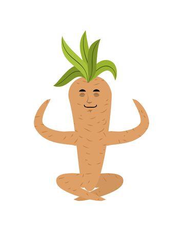 Mandrake root yoga. Yogi Legendary mystical plant in form of man. Relaxation and meditation.  Illustration