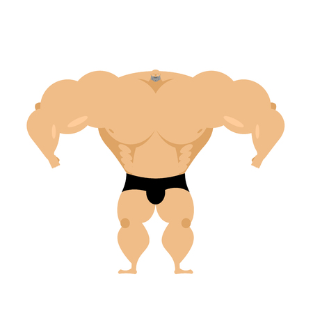 Bodybuilder is big with small head. Lot of muscle mass. Strong athlete isolated