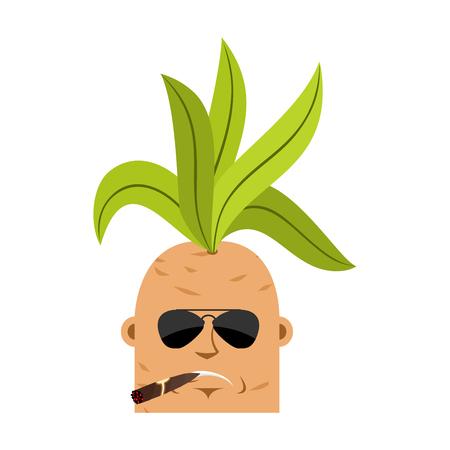 Mandrake root Cool serious avatar emoji. Smoking cigar emotion Legendary mystical plant in form of man.