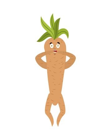 Mandrake root scared OMG. Oh my God emotions Legendary mystical plant in form of man.