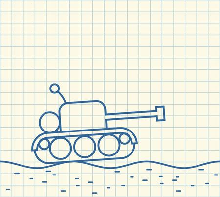 Sketch tank. drawing of military machine. Иллюстрация