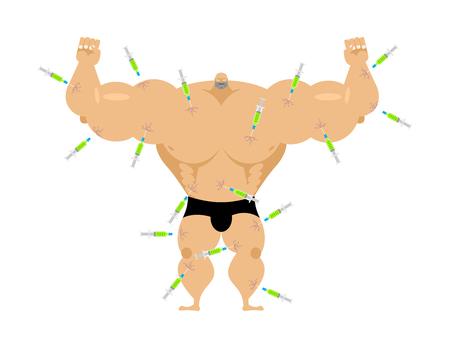 Fisiculturista e seringa com esteróides. Esporte Injeção de anabolizantes. Grande esportista químico forte Ilustración de vector