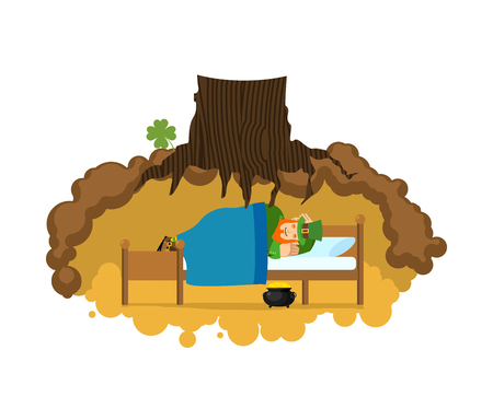 Leprechaun sleeps on bed in hole under ground. Lair of Gnome. dwarf for St. Patricks Day. national Irish holiday