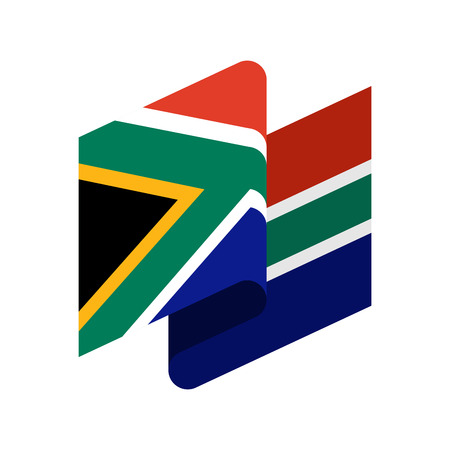 South Africa Flag isolated  South African ribbon banner.