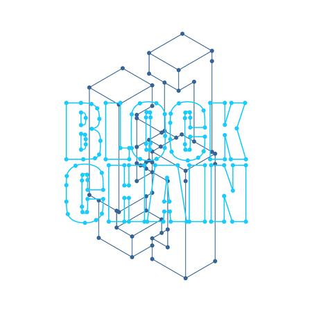 Blockchain network isolated. Cyber concept matrix. Block chain vector illustration 일러스트