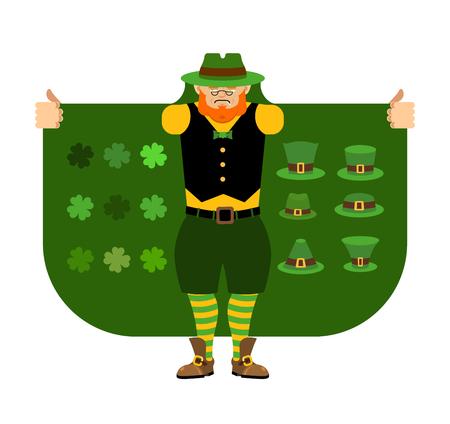 St Patricks Day. Leprechaun Smuggler selling Shamrock and holiday attributes. Cloak-seller holiday attributes. Dealer in hat and coat . Bootlegger. Seller prohibited goods of black marke. Legitimate trade.