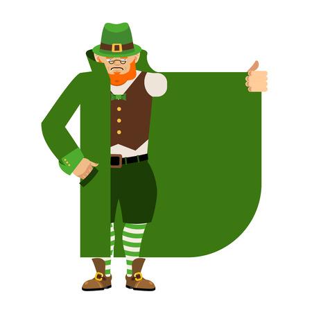 Leprechaun Smuggler selling something template. Cloak-seller isolated. Dealer in hat and coat . Bootlegger. Seller prohibited goods of black marke. Legitimate trade. St Patricks Day Vector illustration