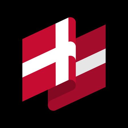 Denmark Flag isolated  Danish ribbon banner.