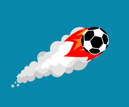 Fiery soccer ball isolated.