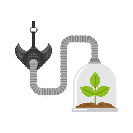 Gas mask and plant in Glass Bell. Glass jar and sprout. Breath of clean air. For poster about the environment.