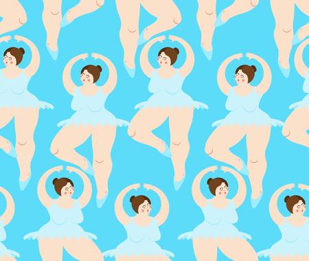 fat Ballerina pattern. Ballet seamless background. Big woman in punt. Dance Swimsuit  Illustration
