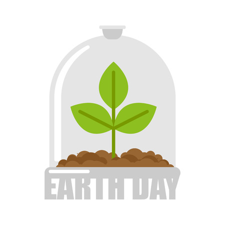 Earth day. Plant in glass bell. Laboratory jar and wood. For poster about environment. Illustration