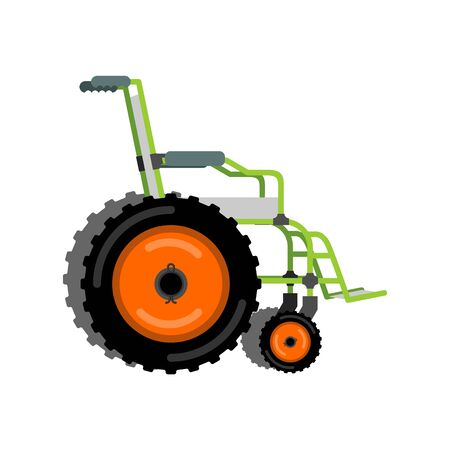 Wheelchair for off-road. Ð¡oncept of an off-road vehicle for disabled people. Illustration
