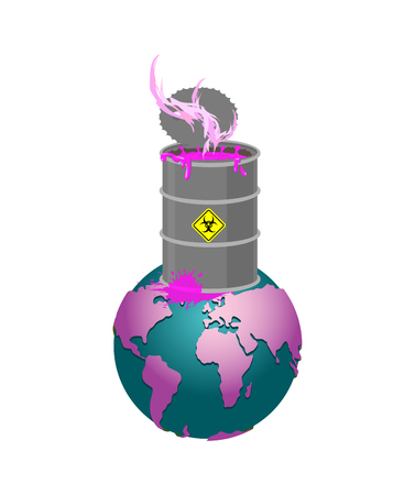 Chemical waste Barrel and earth. Pollution of planet. Nuclear waste. cask of poison. Pollution of environment.  Illustration
