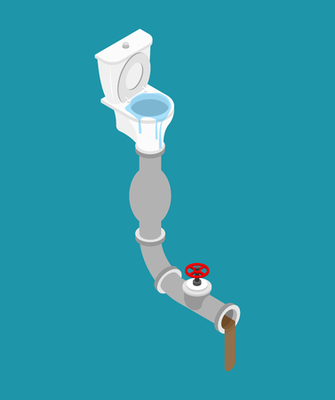 Toilet clogged Isometry. Pipe for water removal. Leakage canalization. Litter in WC.