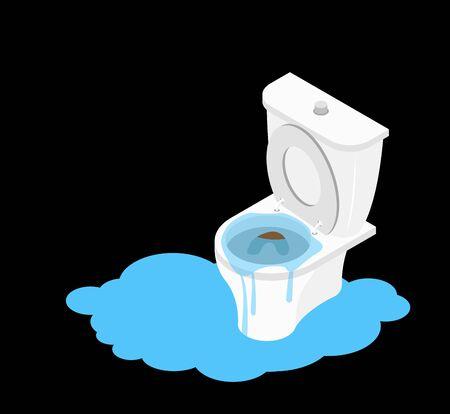Toilet clogged Isometrics of Leakage canalization. Illustration