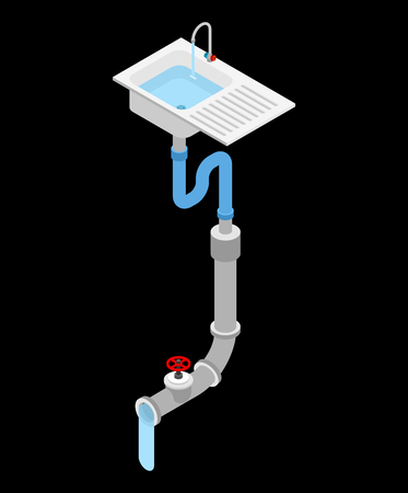 Kitchen sink isometrics isolated of Water pipes. Pipe for water removal.