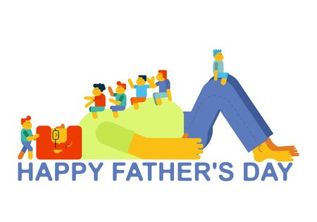 Father's Day. Dad plays with children. Kids sitting on their father stomach.