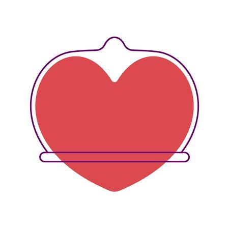 Heart in Condom Vector illustration