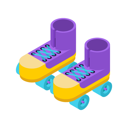 Roller skates isolated isometric style. shoes for riding on ground. Illustration