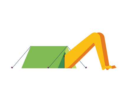 Sticking out head and legs from tent. Camping concept Vector illustration.