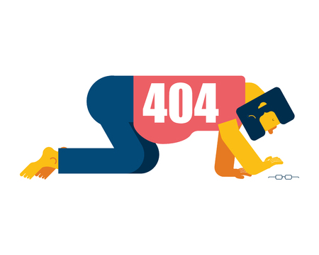 404 error page not found. Man all fours Search glasses. Vector illustration Illustration