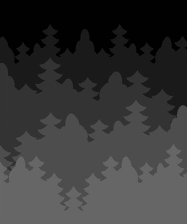 Night forest background Dark Thickets Trees. Vector illustration. Ilustração