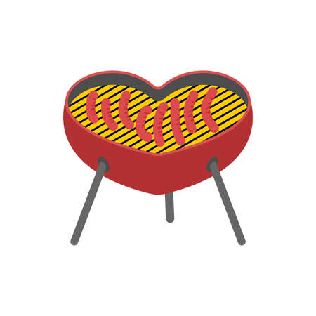 Heart Barbecue grill isolated Vector illustration.  イラスト・ベクター素材