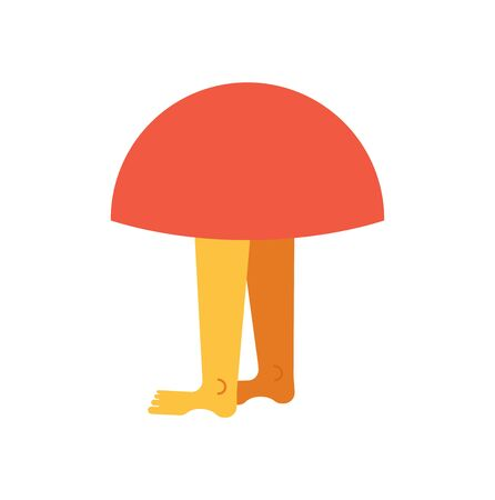 Mushroom with legs.  Vector illustration Illustration