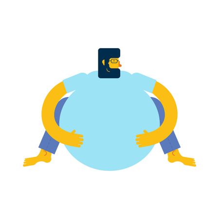 Fat man is sitting. overweight man Vector illustration