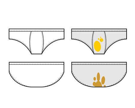 Clean and dirty underpants set. Vector illustration Illustration