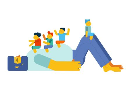 Dad plays with children. Kids sitting on their father stomach. Father's Day illustration
