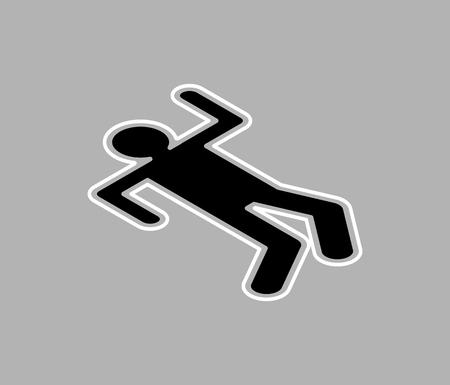 Chalk silhouette corpse, crime scene. Chalk outline of dead body vector illustration.