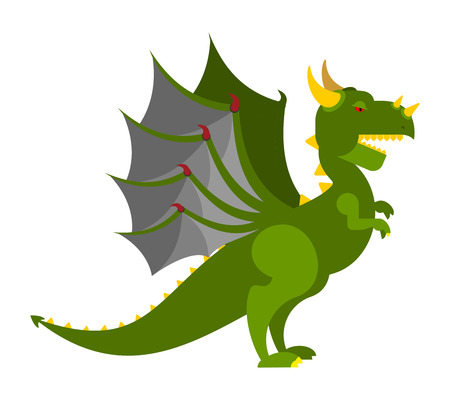 Green Dragon isolated. Mythical Monster with wings. Terrible huge beast. Vector illustration