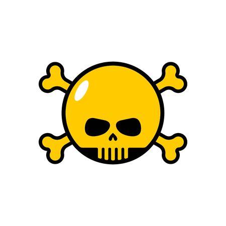 Cráneo con huesos emoji. Cabeza de icono de esqueleto.