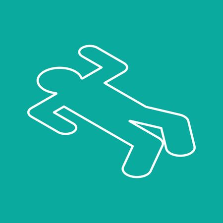 Crime scene Chalk silhouette corpse. Chalk outline of dead body. Vector illustration. Иллюстрация