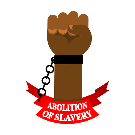Abolition of slavery. Arm slave with broken shackles, broken chain.