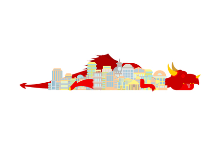 Dragon sleeps in city. Mythical monster in town