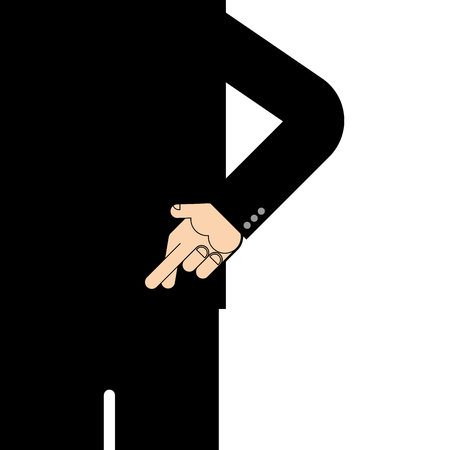 Behind crossed fingers. Fingers symbol deception. Vector illustration