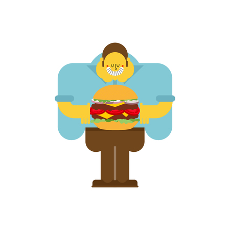 Fat guy and hamburger. obesity man and burger. Vector illustration