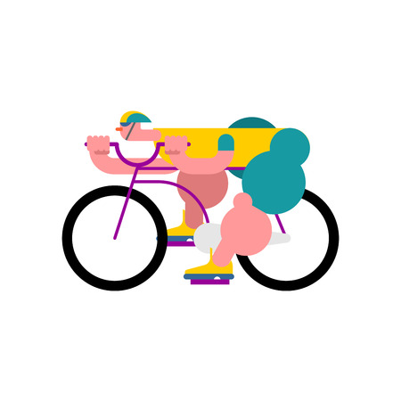 Cyclist isolated. Bicycle race. Sports Vector illustration