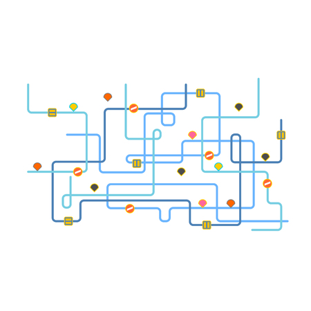Route map. Road map city. Vector illustration