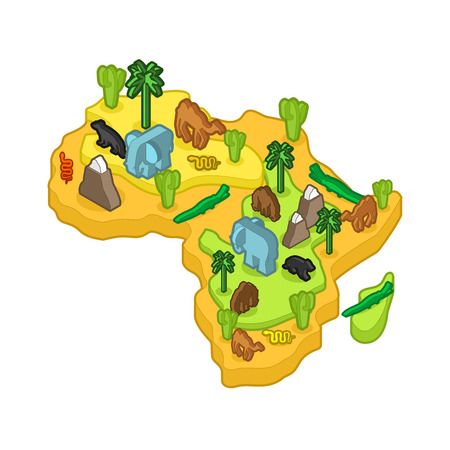 Africa map animal isometric style flora and fauna vector illustration.
