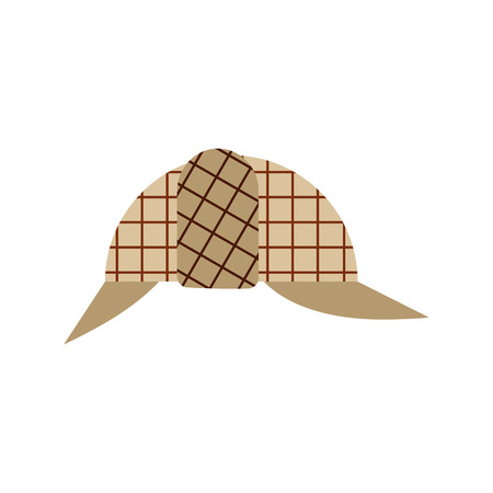 Cap private detective isolated, hat vector illustration.