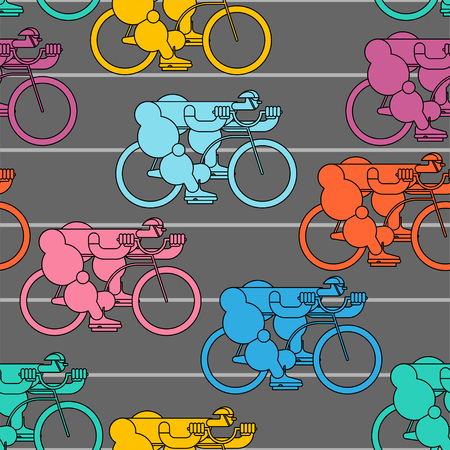 Bicycle race pattern cyclist background. Racers on bicycles sports vector illustration.