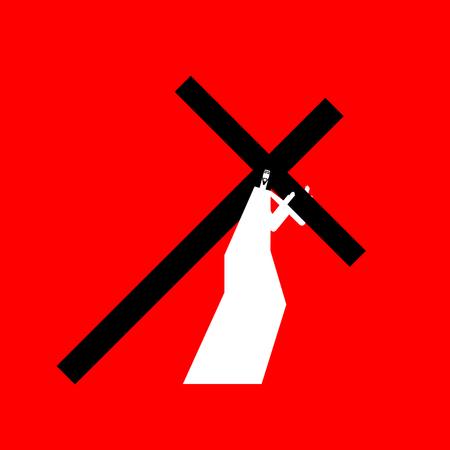 Jesus carry cross, god's son. Biblical religious vector illustration. Ilustração